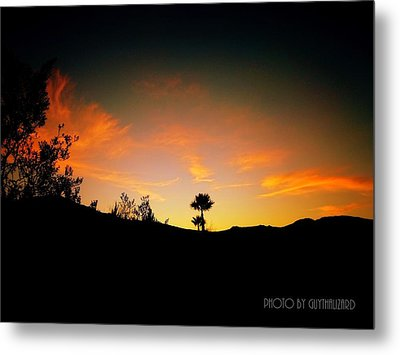 Sunset - Palm Mountain Metal Print