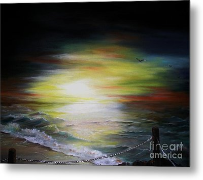 Metal Print featuring the painting Sunset Point by Anna-Maria Dickinson