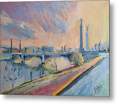 Sunset Pont Fragnee Metal Print