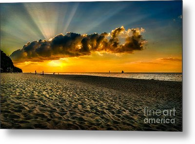 Sunset Puka Beach Metal Print
