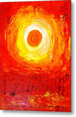 Metal Print featuring the painting Sunset Red by Piety Dsilva