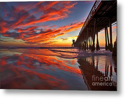 Sunset Reflections At The Imperial Beach Pier Metal Print