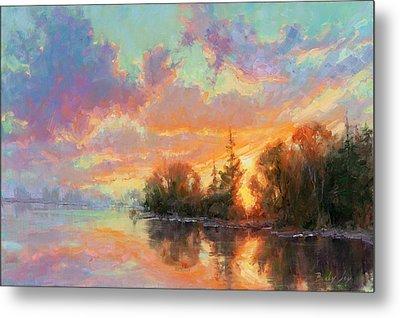 Sunset Reflections Metal Print by Becky Joy