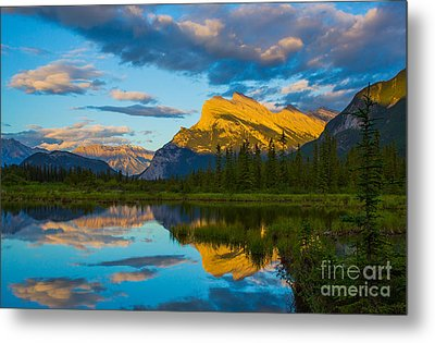 Sunset Reflections In Banff Metal Print by John Roberts