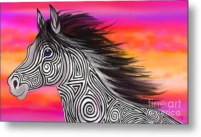 Metal Print featuring the painting Sunset Ride Tribal Horse by Nick Gustafson