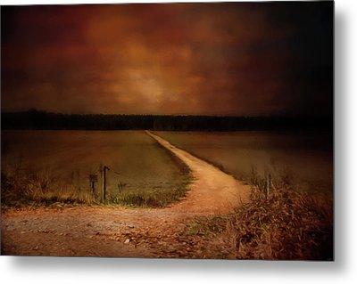 Sunset Road Landscape Art Metal Print