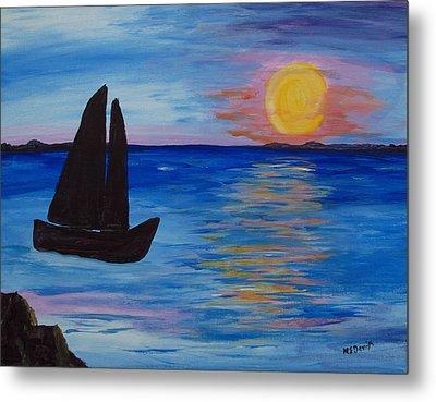 Sunset Sail Dark Metal Print by Barbara McDevitt