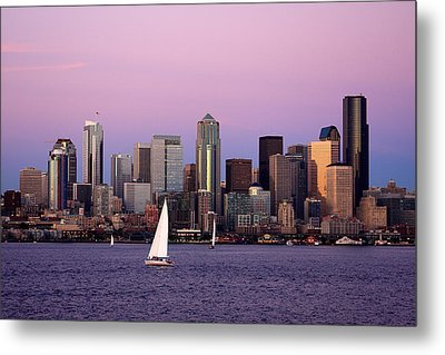 Sunset Sail In Puget Sound Metal Print by Adam Romanowicz