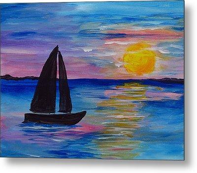 Sunset Sail Small Metal Print by Barbara McDevitt