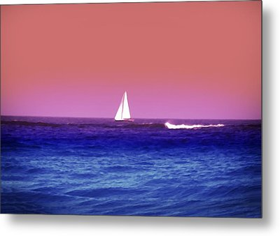 Sunset Sailboat Metal Print by Bill Cannon
