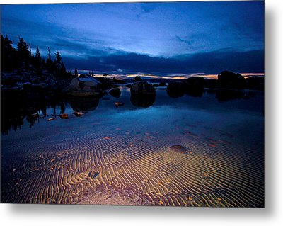 Sunset Sand Ripples Metal Print by Sean Sarsfield