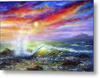 Sunset Sea Metal Print by Ann Marie Bone