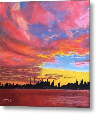 Sunset Silhouette...a Rainbow Of Colors Metal Print by Harvey Rogosin