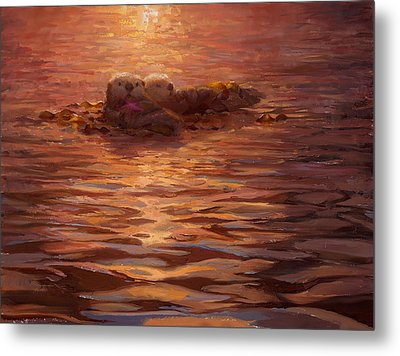 Metal Print featuring the painting Sunset Snuggle - Sea Otters Floating With Kelp At Dusk by Karen Whitworth