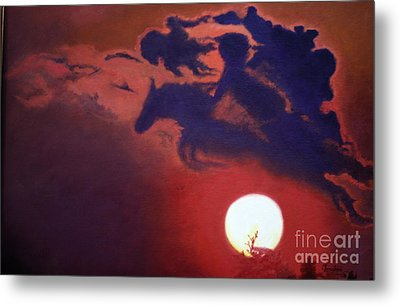 Metal Print featuring the painting Sunset Steeplechase by Cindy Lee Longhini