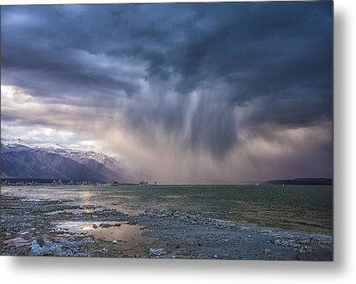 Sunset Storm Over Mono Lake Metal Print by Janis Knight