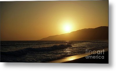 Sunset Surf In Malibu Metal Print by Nina Prommer