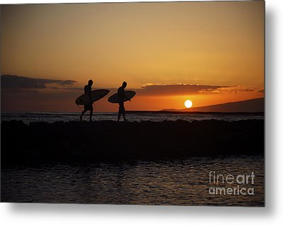 Sunset Surfers Metal Print by Brandon Tabiolo - Printscapes