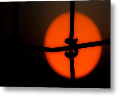 Sunset Through The Fence Metal Print by Mark Alder