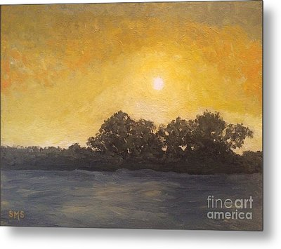 Sunset Through The Fog Metal Print by Stella Sherman