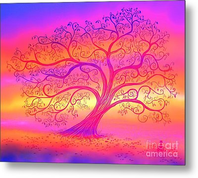 Metal Print featuring the painting Sunset Tree Cats by Nick Gustafson