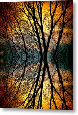 Sunset Tree Silhouette Abstract 3 Metal Print by James BO  Insogna