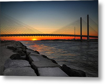 Sunset Under The Indian River Inlet Bridge Metal Print by Bill Swartwout