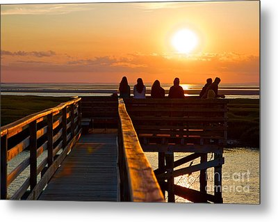 Sunset Watching At Grays Beach Boardwalk Metal Print by Amazing Jules