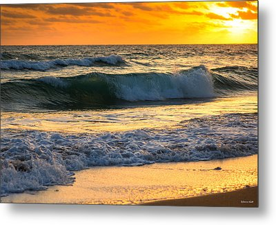 Sunset Waves Metal Print by Rebecca Hiatt