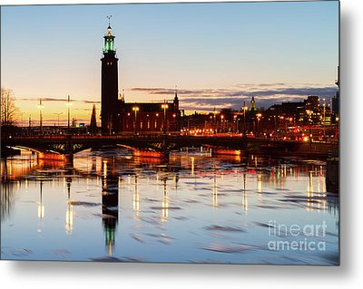 Sunset With Cityhall Of Stockholm Metal Print