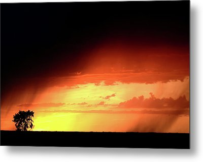 Sunset With Rain In Scenic Saskatchewan Metal Print by Mark Duffy