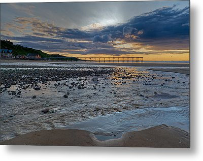 Sunset With Saltburn Pier Metal Print