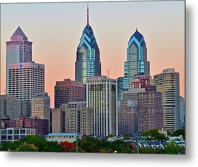 Metal Print featuring the photograph Sunsets Glow In Philly by Frozen in Time Fine Art Photography