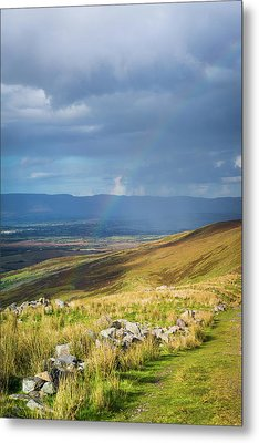 Sunshine And Raining Down With Rainbow On The Countryside In Ire Metal Print by Semmick Photo