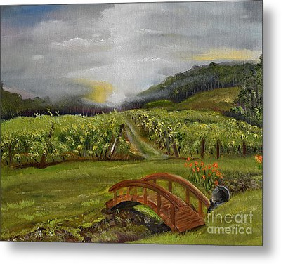 Metal Print featuring the painting Sunshine Bridge At The Cartecay Vineyard - Ellijay Ga - Vintner's Choice by Jan Dappen