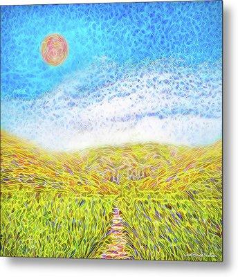 Metal Print featuring the digital art Sunshine Path - Field In Marin California by Joel Bruce Wallach