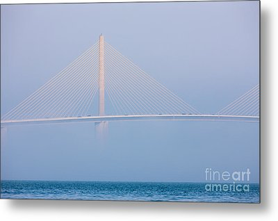 Sunshine Skyway Bridge In Fog I Metal Print by Clarence Holmes