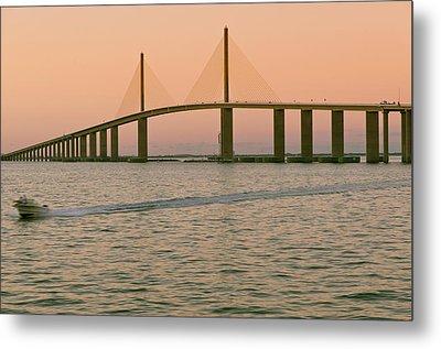 Sunshine Skyway Bridge Metal Print by Ixefra