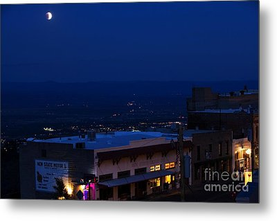 Metal Print featuring the photograph Super Full Moon 1/2 Eclipse Over Jerome Az by Ron Chilston