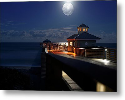 Super Moon At Juno Pier Metal Print