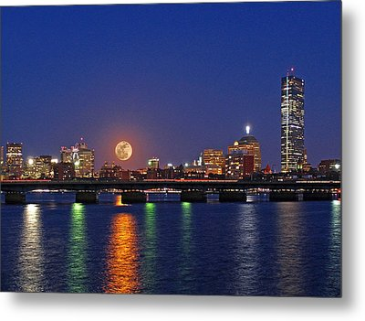 Super Moon Over Boston Metal Print