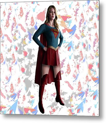 Metal Print featuring the mixed media Supergirl Splash Super Hero Series by Movie Poster Prints