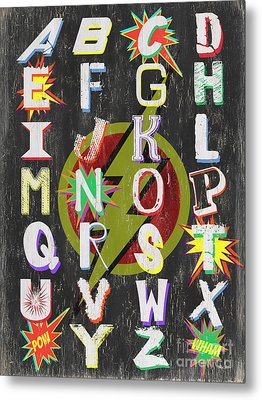 Superhero Alphabet Metal Print