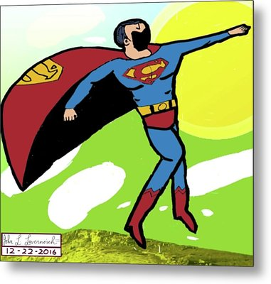 Superman In Flight Metal Print by John Lavernoich