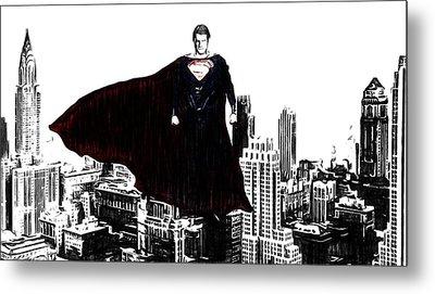 Superman In Manhattan Comic Charcoal Metal Print by Dan Sproul