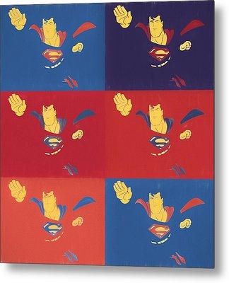Superman Pop Art Panels Metal Print by Dan Sproul