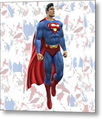 Metal Print featuring the mixed media Superman Splash Super Hero Series by Movie Poster Prints