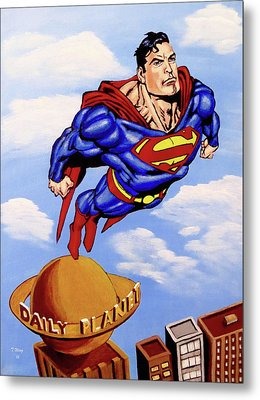 Metal Print featuring the painting Superman by Teresa Wing