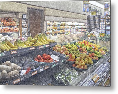 Metal Print featuring the photograph Supermarket Produce Section by David Zanzinger