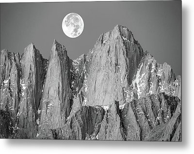 Metal Print featuring the photograph Supermoon And Mount Whitney. by Johnny Adolphson